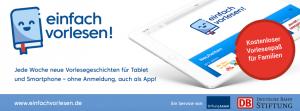 """""""einfach vorlesen!"""" ist ein gemeinsames Angebot von Stiftung Lesen und Deutsche Bahn Stiftung."""