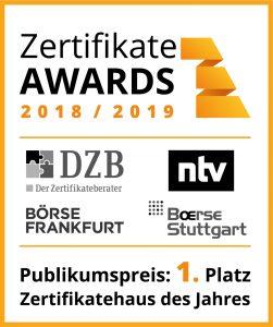 """Gemeinsam mit n-tv, Börse Stuttgart und Börse Frankfurt zeichnete """"Der Zertifikateberater"""" die besten Zertifikate-Emittenten aus."""