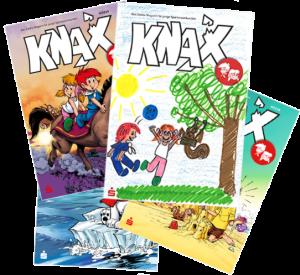 KNAX-Bewohner in Aktion, Drachen oder Feen - auf der Titelseite der KNAX-Hefte findest du immer witzige, spannende, neugierig machende Bilder.